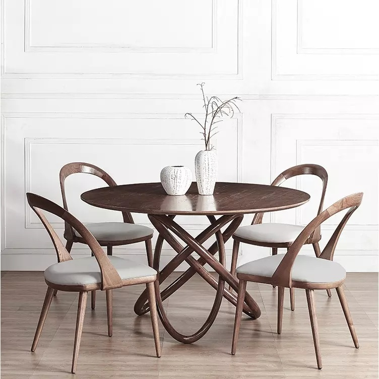 Family Solid Wooden Round Dining Table, Solid Wood Round Dining Table Sets