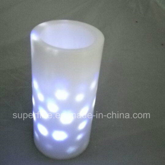 Battery Operated Saloon Romantic Plastic Flameless LED Candles Full of Multicolor Snowflake