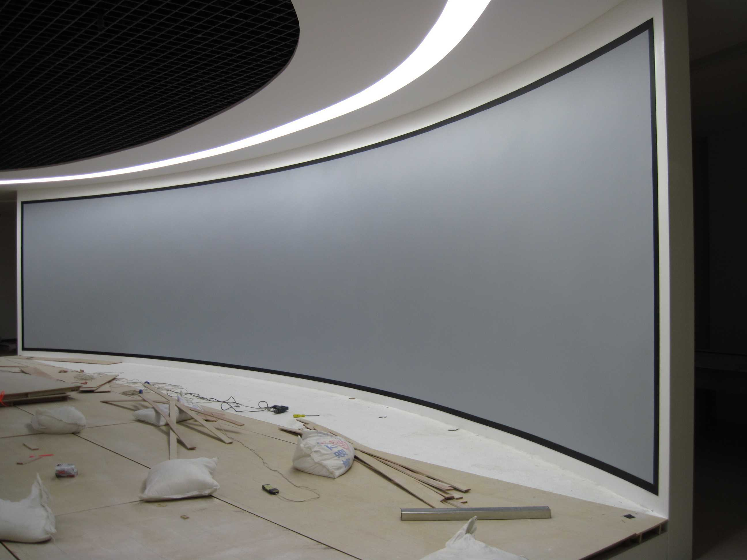 China Large Fixed Frame Curved Projection Screen Customize Size ...