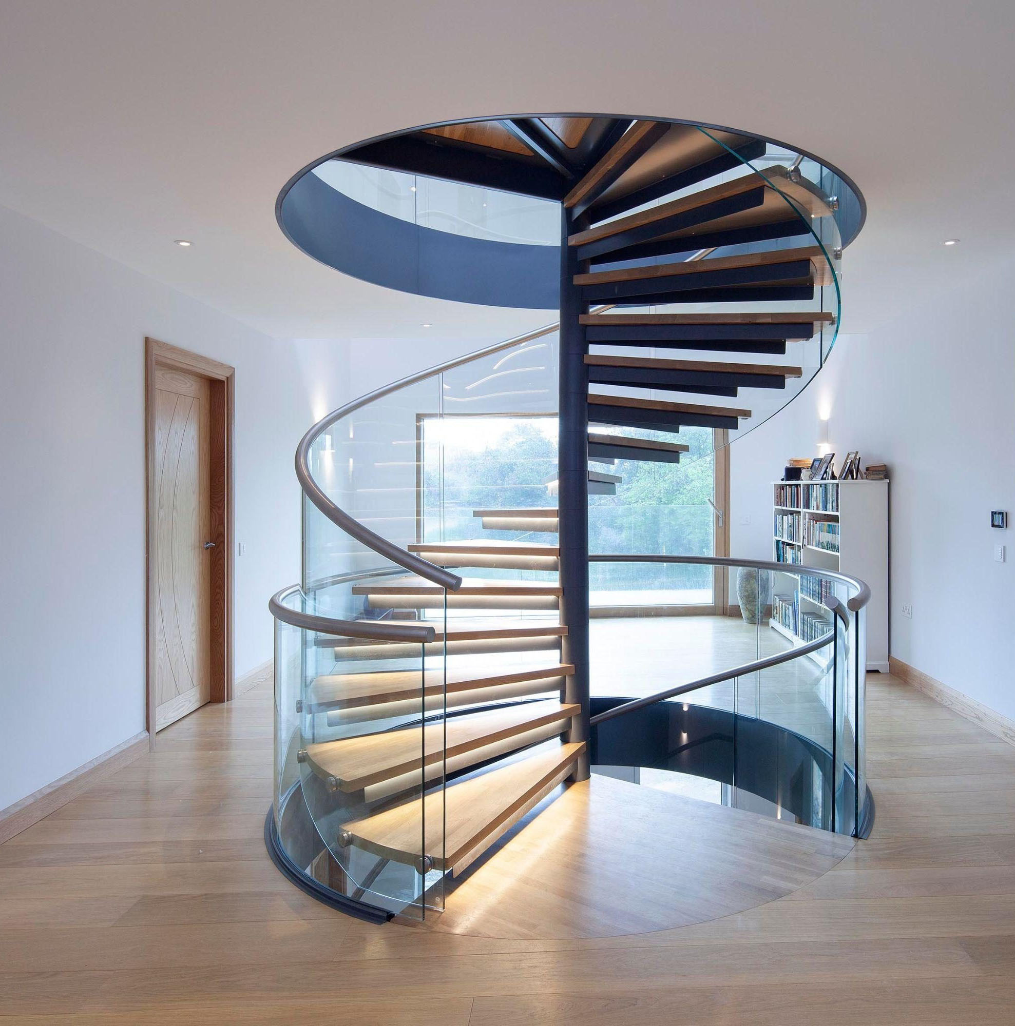 Picture of: China Glass Spiral Staircase With Stainless Steel Raillling China Spiral Staircase Glass Staircase