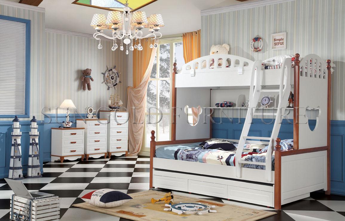 [Hot Item] Children Wooden Double Bed Designs Loft Kids Wood Bed (SZ-BT903)