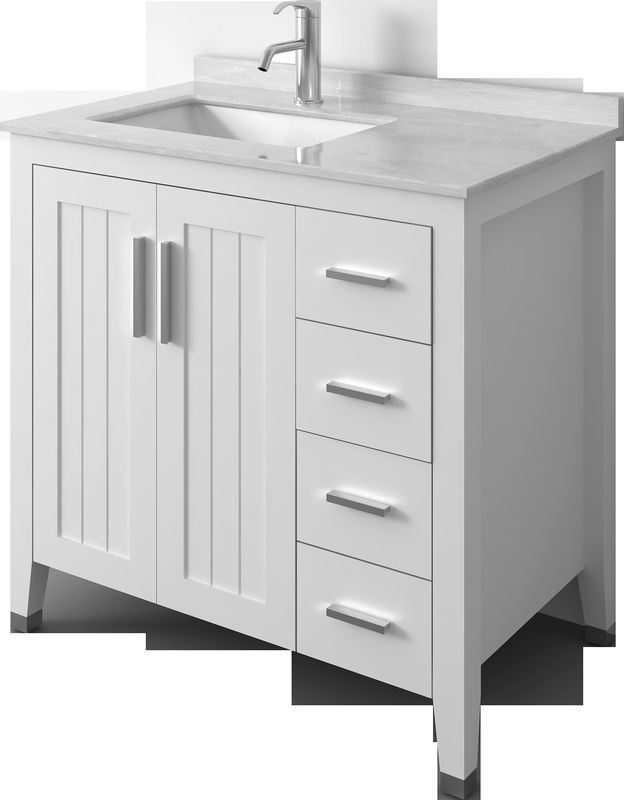 China Fashion White Solid Wood Bathroom