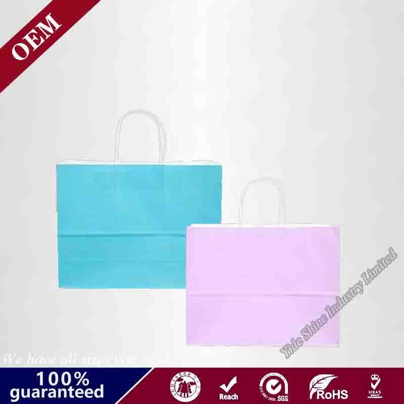 "Kraft Paper Bags 100Pcs 5.25/""X3.75/""X8/"" Shopping Bag Party BROWN W Handles"