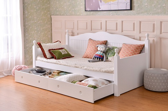 [Hot Item] Hot Sale Modern Durable Wooden Children Bedroom Furniture Sets  Kids Sofa Bed Girls Bed with Trundle Bed and Storage Drawers