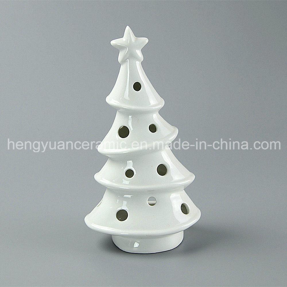 White Porcelain Tree Shaped Ceramic Christmas Candle Holders - China Tree Candle Holder, Ceramic Christmas Tree Candle Holder
