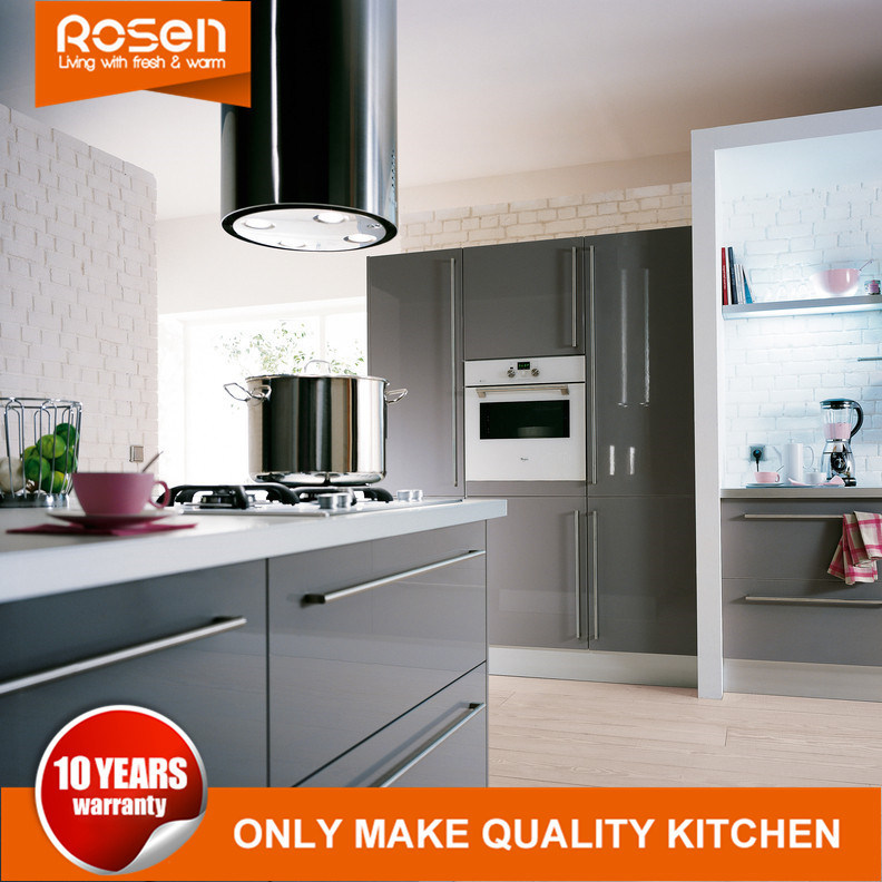 Hot Item High Gloss Gray Smooth Paint Finish Kitchen Cabinets Sets