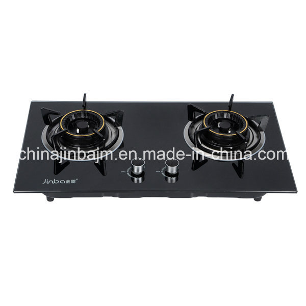 2 Burners Tempered Glass Top Brass 120mm Brass Burner Cooker/Gas Stove