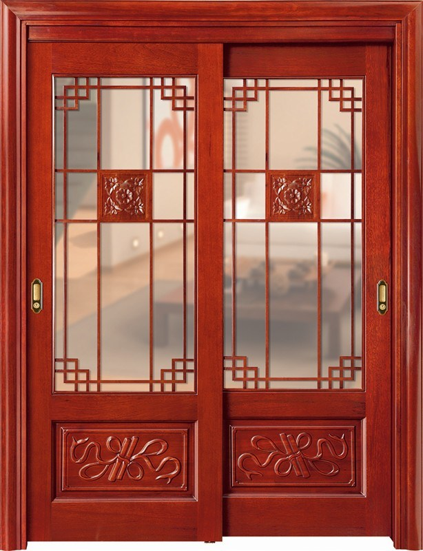 Luxury Teak Wood Double Door Design (CL-2047) pictures & photos
