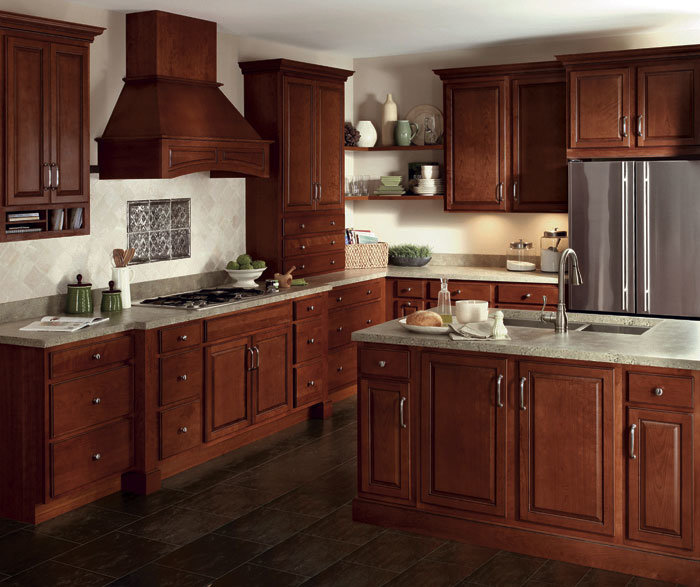 China Custom Glazed Cherry Cabinets in Traditional Kitchen ...