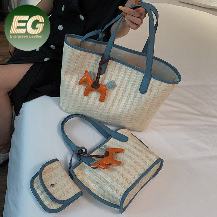 Tote Bag With Purse Rattan Straw