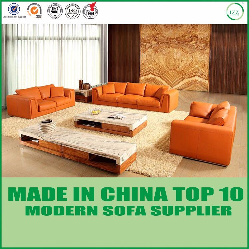 [Hot Item] Modern Furniture Orange Chesterfield Leather Sofa Set