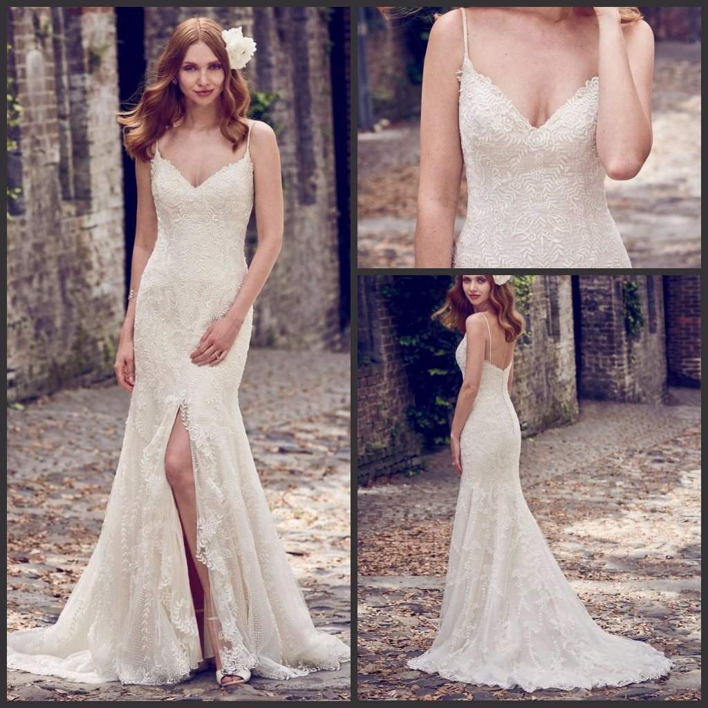 China 2018 Mermaid Bridal Gowns Lace Dots Tulle Spaghetti Straps