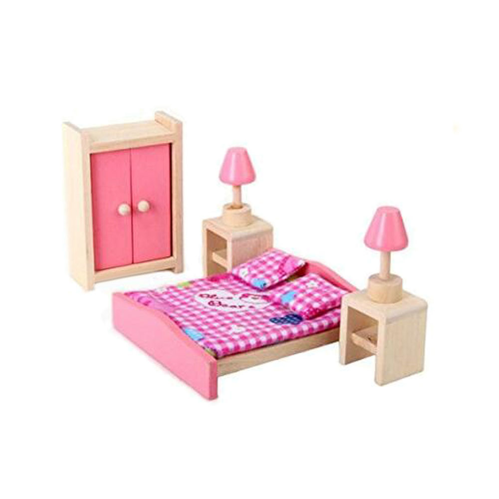 China Wooden Dollhouse Bedroom Furniture Set for Kids - China ...