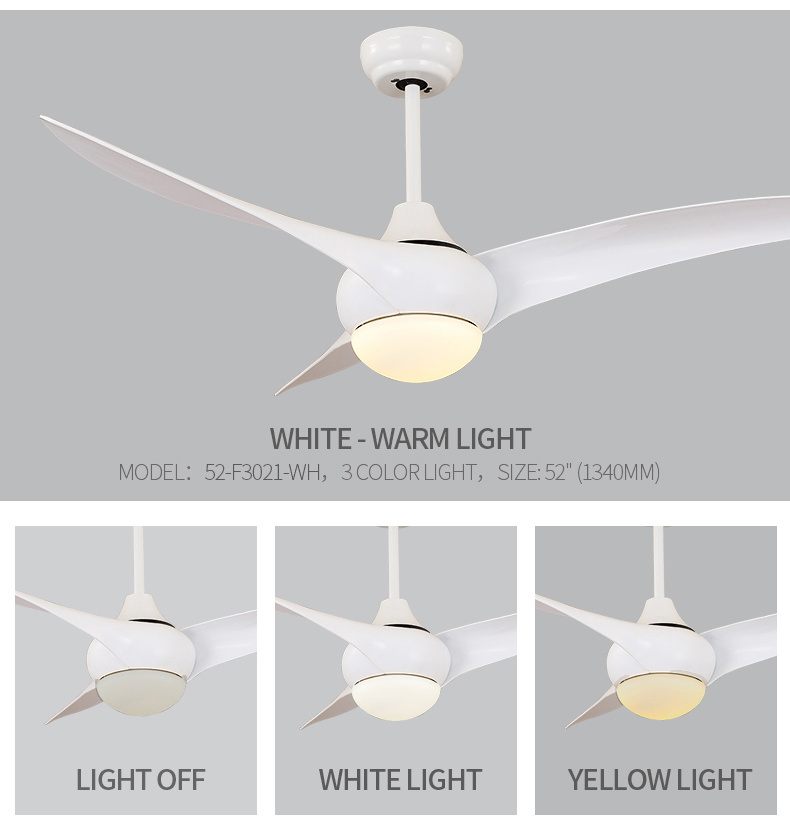 China 52 Inch Low Profile White Ceiling Fan With Remote Control Dc