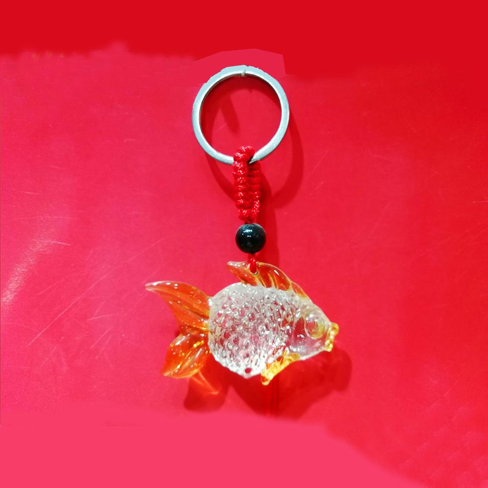 China Glass Fish Keychain Crystal Goldfish Pendant Keyring 2 Colors ...