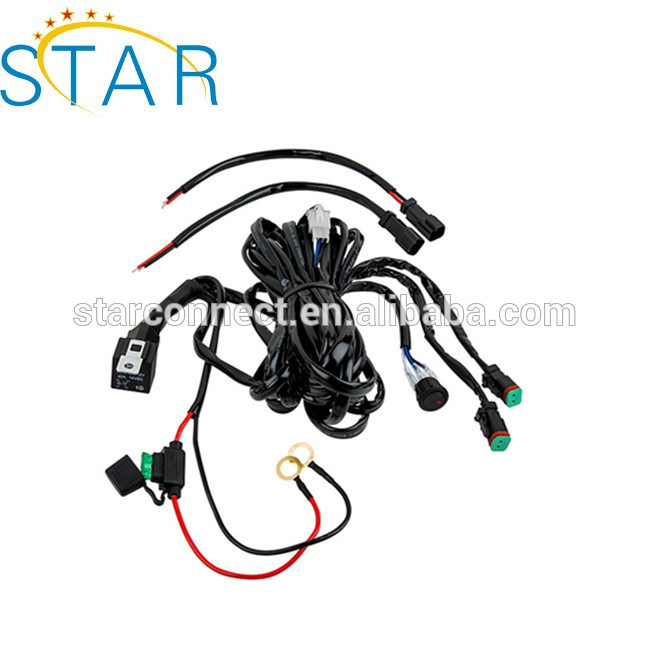 custom best quality auto car light wire harness assembly with single  /double switch