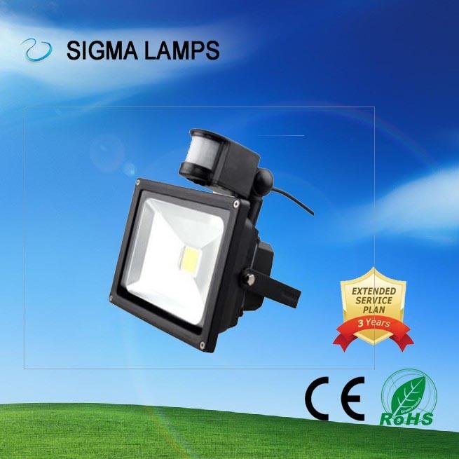 Hot Item Sigma Ip65 20w 30w 50w 100w Pir Motion Sensor Induction Bulbs Lamps Flood Light Led Floodlight