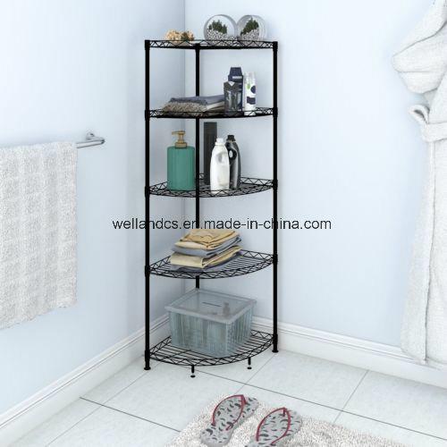 Black Powder Coated Nsf Diy 5 Tiers Carbon Steel Bathroom Corner Storage Wire Rack