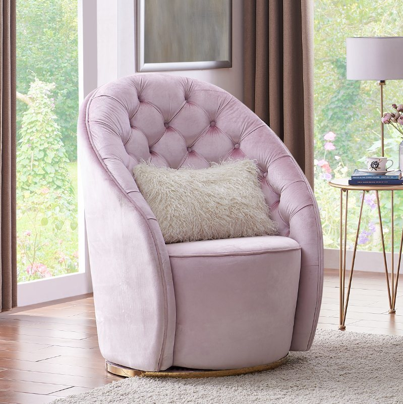 China Nordic Style Rose Gold Cool Pink Velvet Cushion Accent Chair Sofa For Living Room China Couch Living Room Sofa Crescent Shaped Sofa