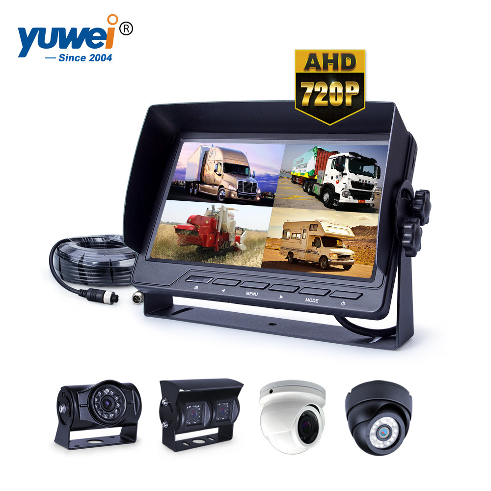 Rear View Camera System >> Hot Item 7 Quad Screen Monitor Trailer Rearview Camera System For Caravan Horse Trailer