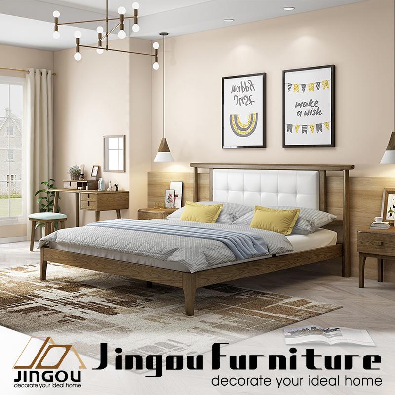 [Hot Item] Modern Wood Furniture Bedroom Set Solid Wooden Bed for Home