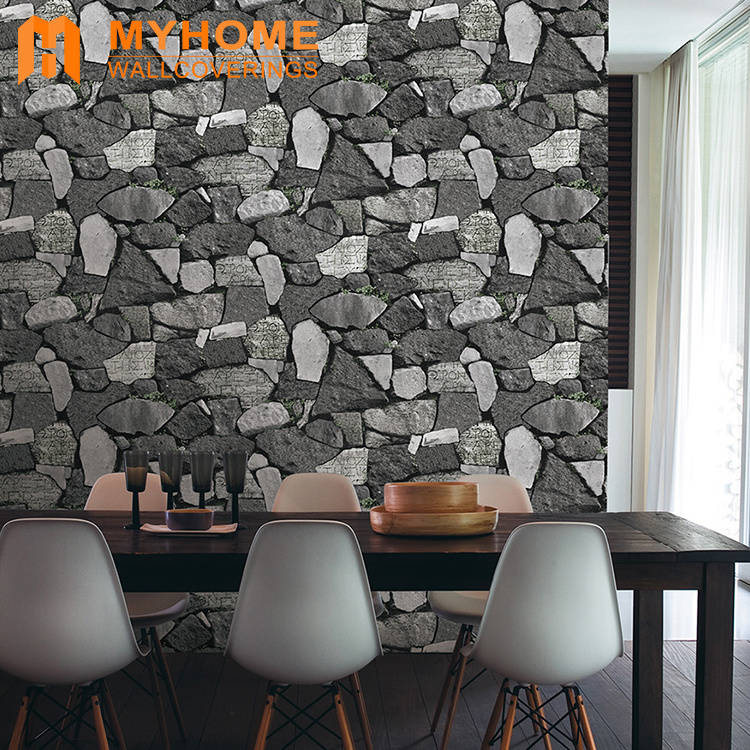 Hot Item Guangzhou Wholesale Washable Bedroom Pvc 3d Brick Wallpaper For Home