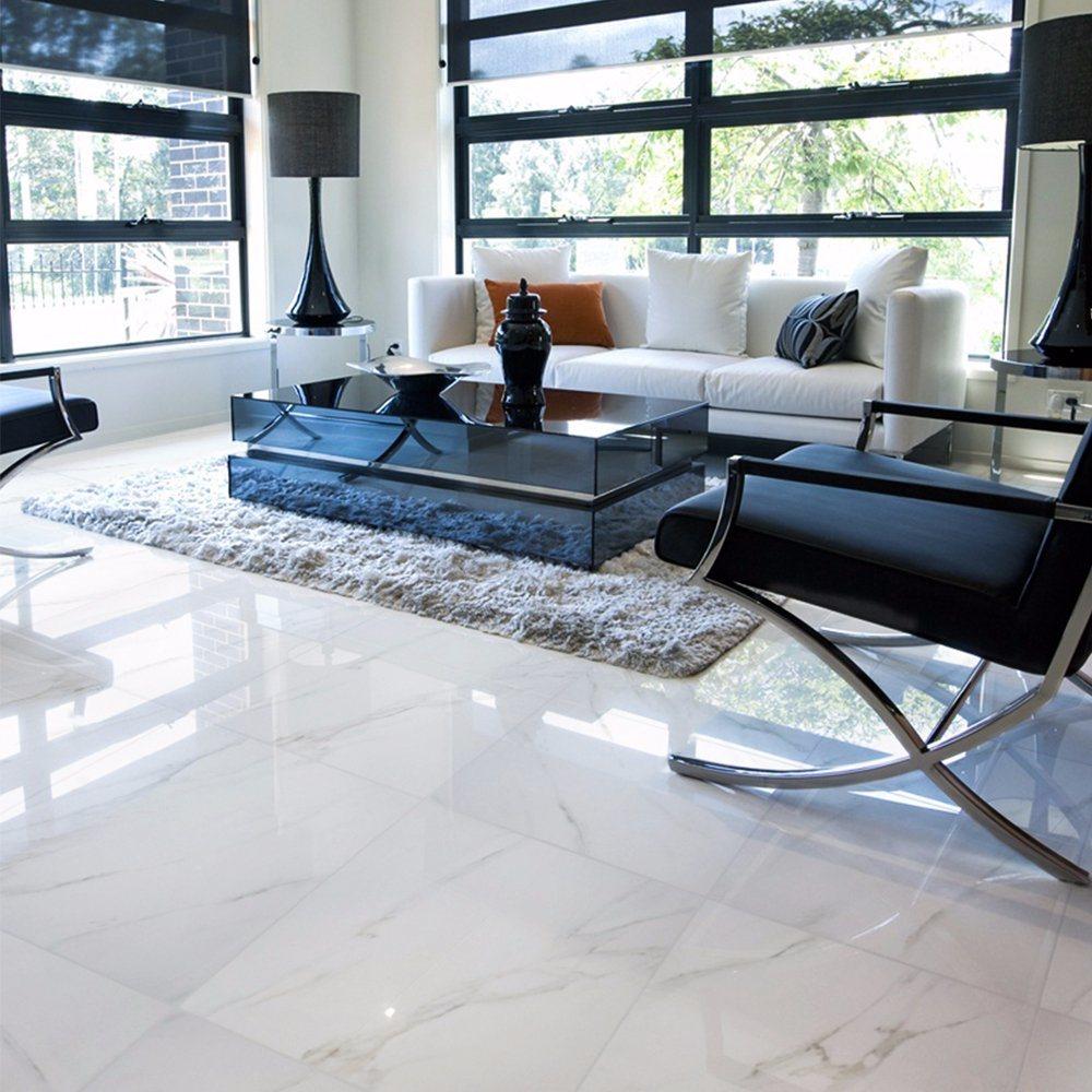 China Polished Glazed Porcelain Floor White Marble Tile 600x600