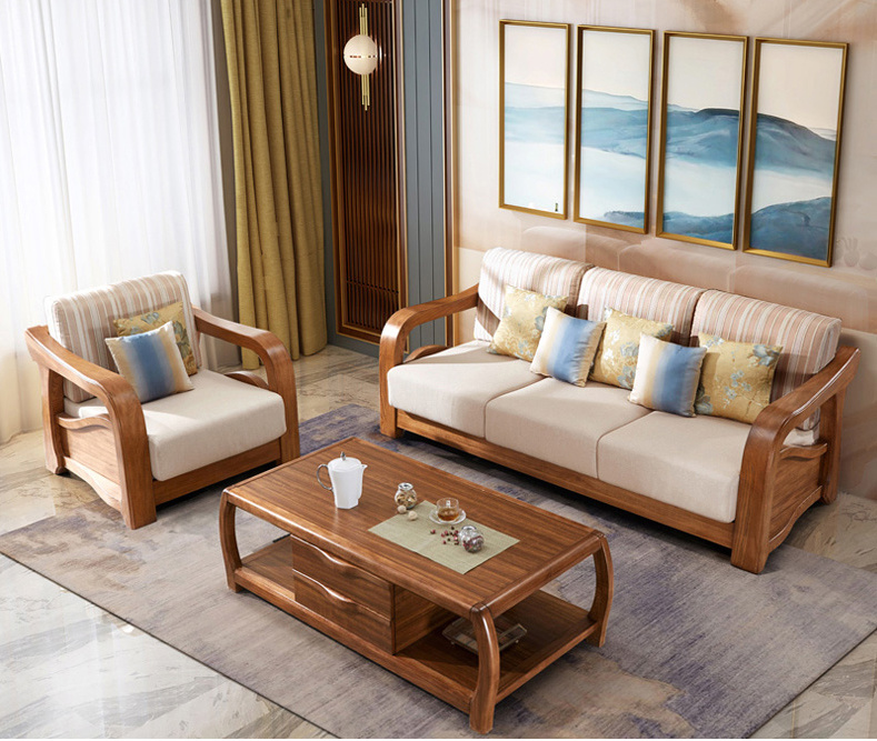 [Hot Item] Latest Fabric Sofa Set Living Room Furniture Pictures of Wooden  Sofa Designs