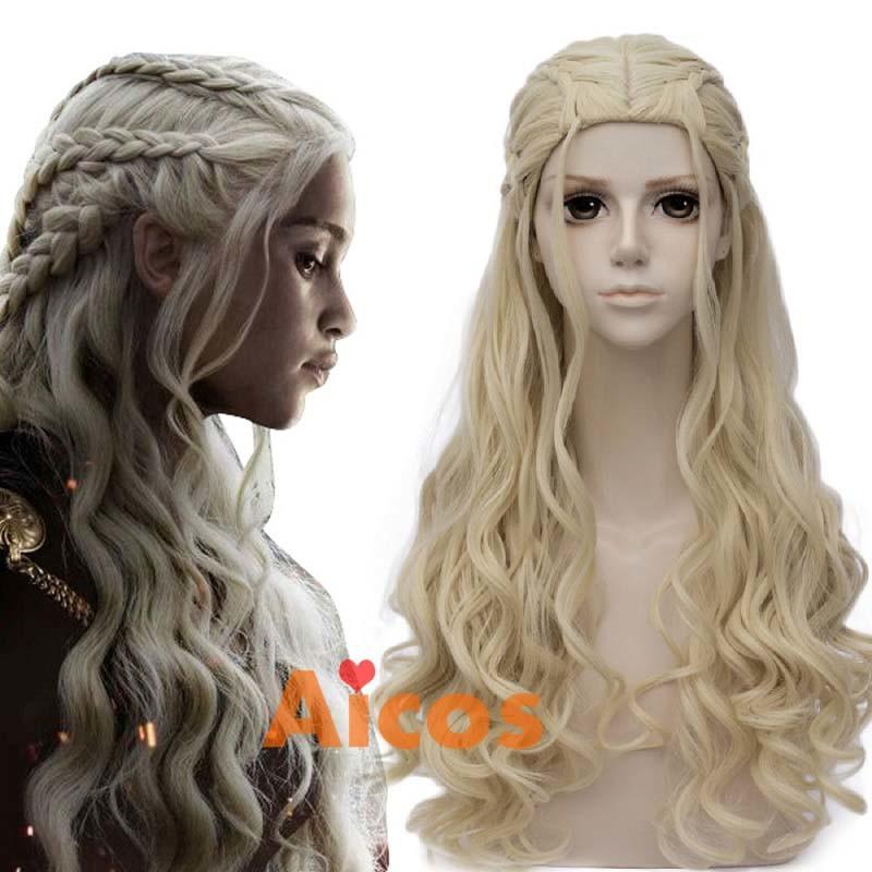 Daenerys Targaryen Cosplay Wig for Game of Thrones Season 7 Khaleesi Costume Hair Wig Light blonde