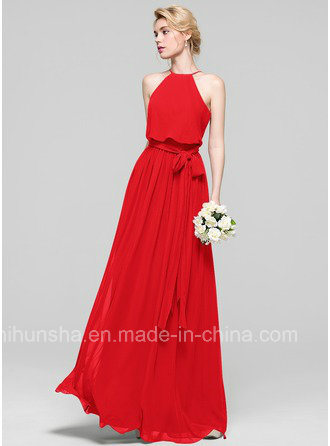 A-Line Scoop Neck Floor-Length Chiffon Evening Gowns Bridesmaid Dress Bd001 pictures & photos