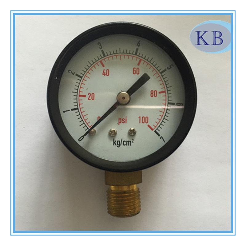 Black Steel Case Dry Vacuum Gauge Bottom Connection