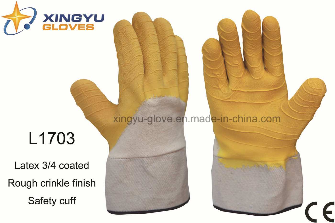 Jersey Liner Latex 3/4 Coated Safety Cuff Work Glove (L1703)