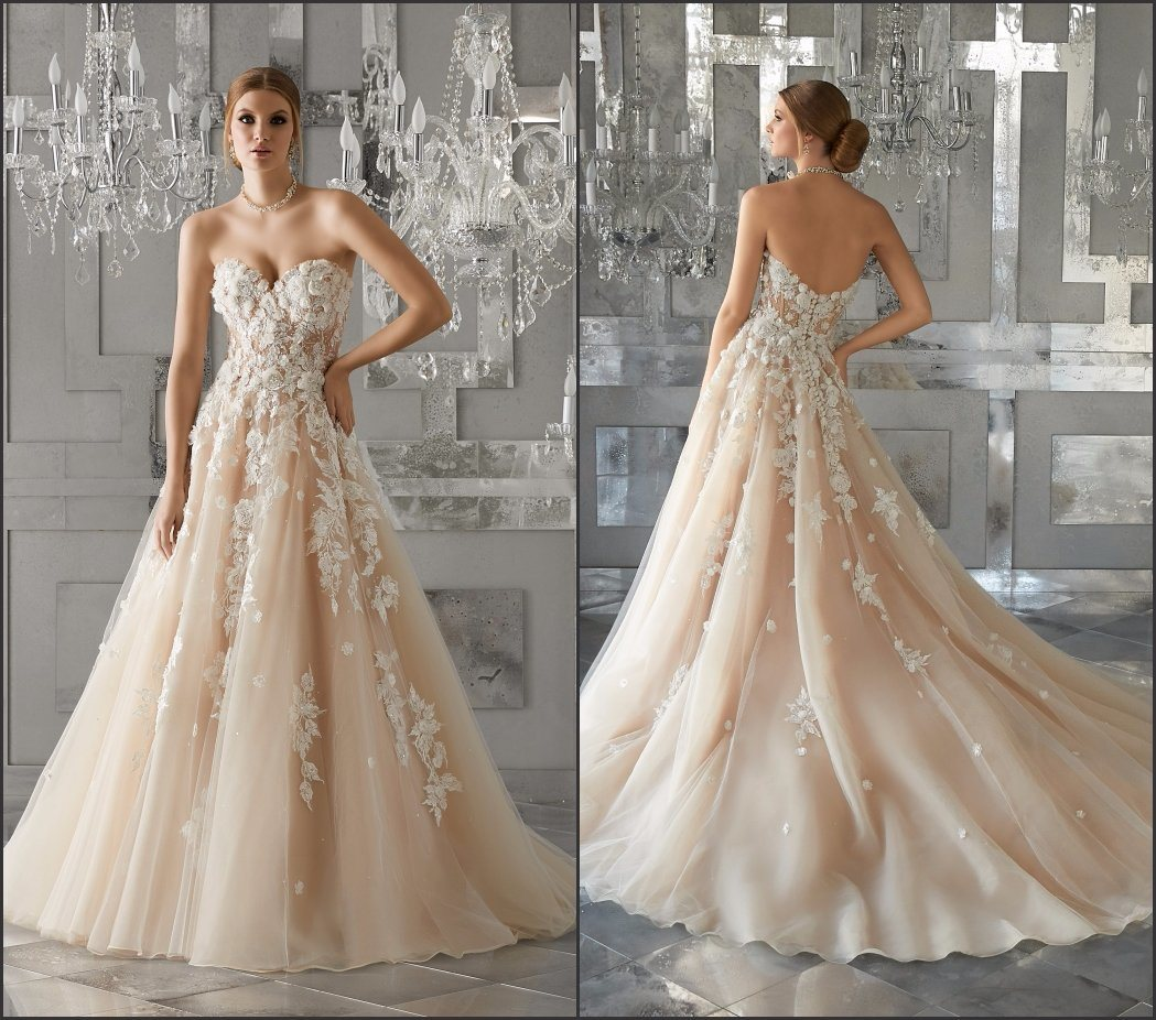 China Beaded Lace Bridal Gown Crystal 3d Flowers Wedding Dress