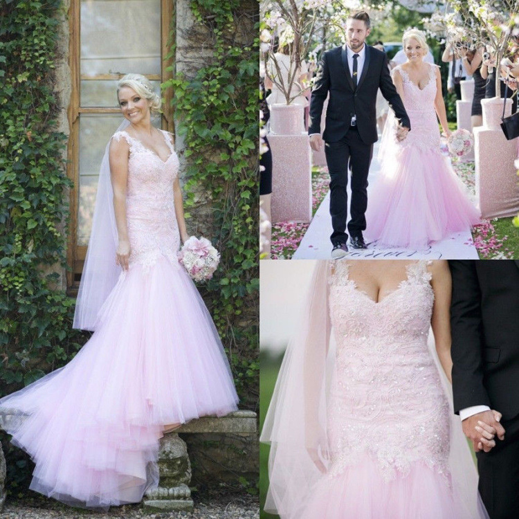 China Mermaid Wedding Dress Pink Tulle Lace Beaded Beach Bridal Gown