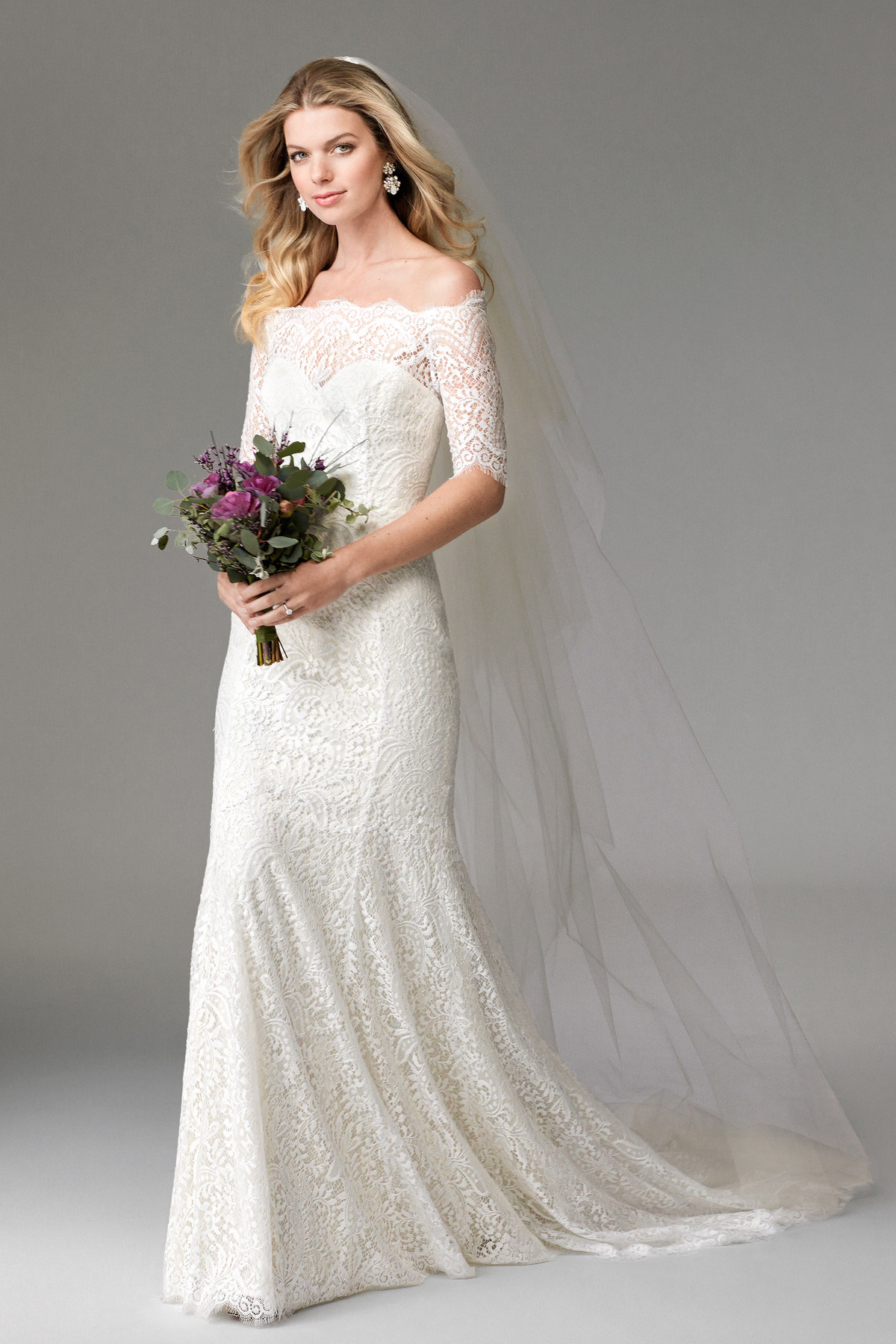 China off Shoulder Bridal Gowns Mermaid Fishtail Lace 1/2 Sleeves ...