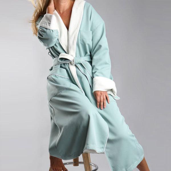 9e318a9aee Shawl Bathrobe for Luxury SPA Robe Microfiber Bathrobe with Cotton Terry  Lining Long Gowns
