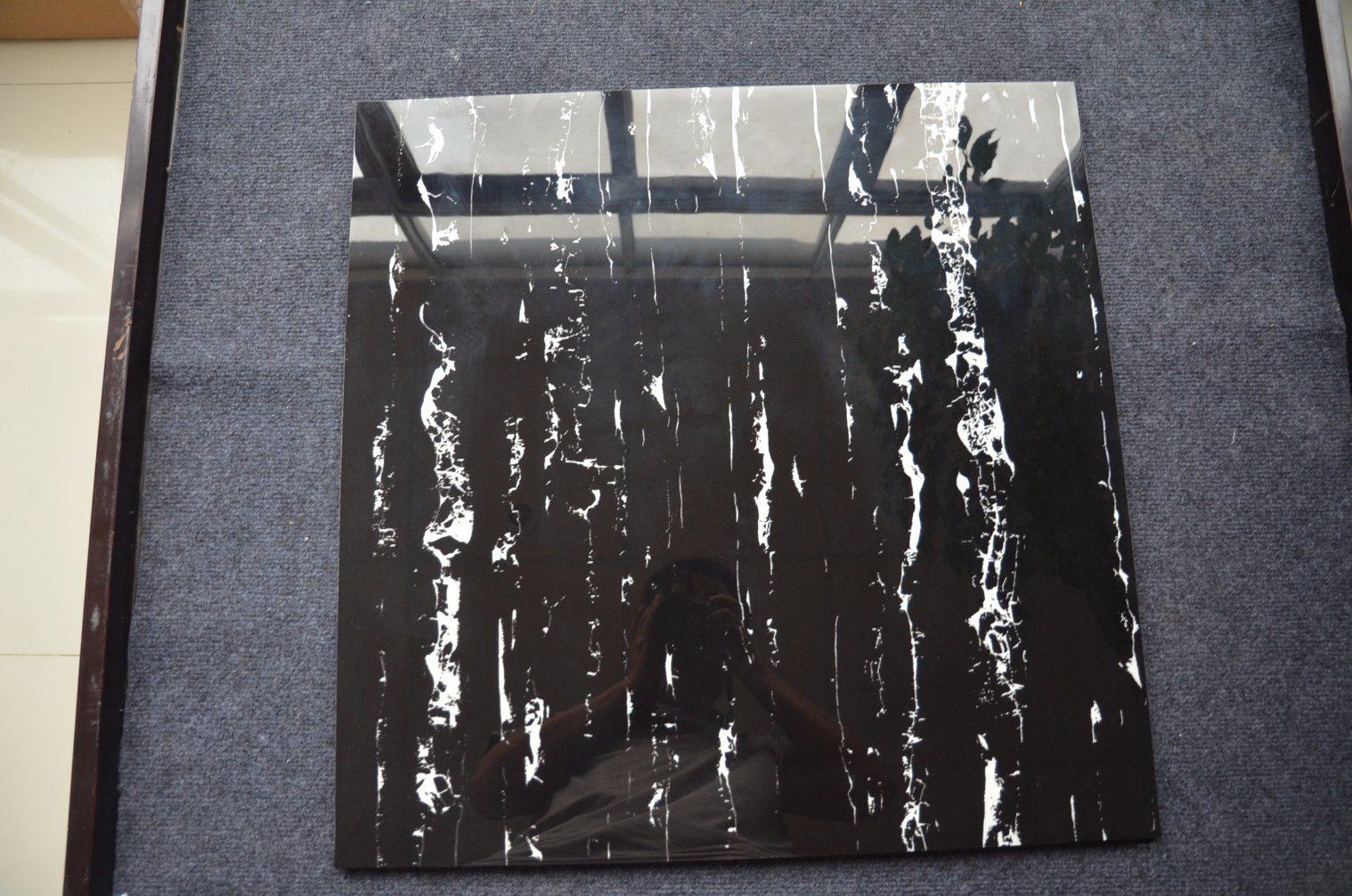China European Style Square Glazed Polished Black And White Floor