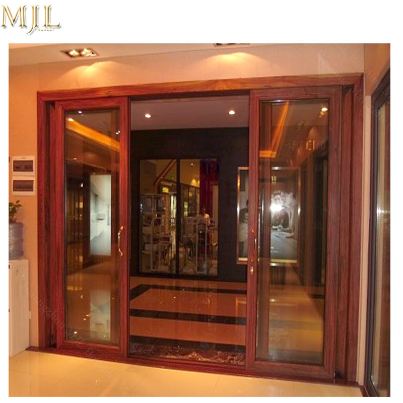 China Modern Design Aluminum Frame Clad Wooden Profile Sliding Glass Door China Sliding Door Channel Door Design Aluminum