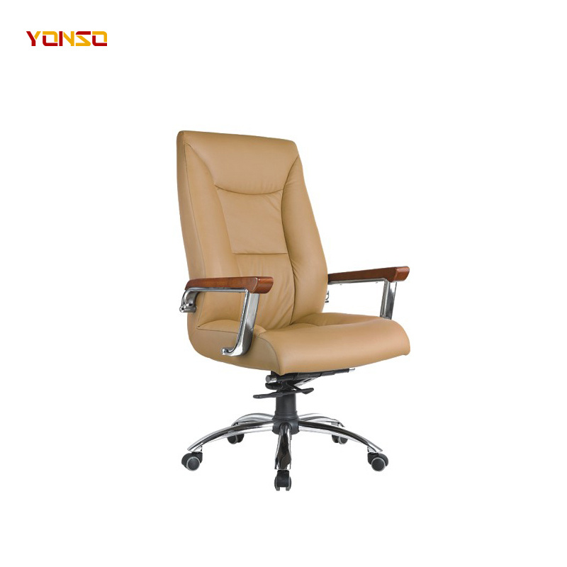 China Designer Genuine Leather High Back Padded Swivel Home Office Chair China Desk Chair Black Leather Designer Leather Office Chair