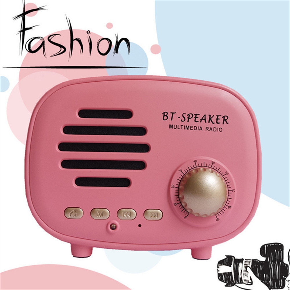 China New American Style Retro Bluetooth Portable Vintage Mini Small Fm Radio Speaker Music Stereo Player