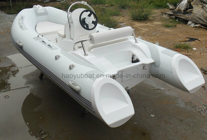 13.8ft Fiberglass Hull Rib Boat with CE Rigid Hull Inflatable Boat Outboard Motor Fishing Boat