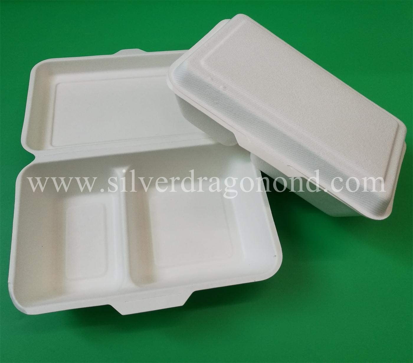 Biodegradable Compostable Sugarcane Bagasse Lunch Box 1000ml, 2comp Box