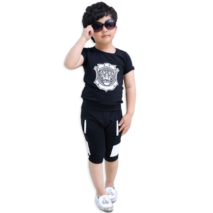 fd0d9ff1 [Hot Item] Latest Tops European Designs Boys Wholesale Lion Printing Kids  Summer Clothing Sets (XR-6005)