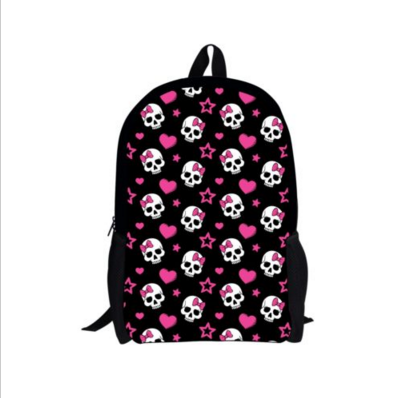 b1cc08a6c62f Cool Skull Print School Book Bag Bookbag Backpacks Rucksack for Girls Boys  New