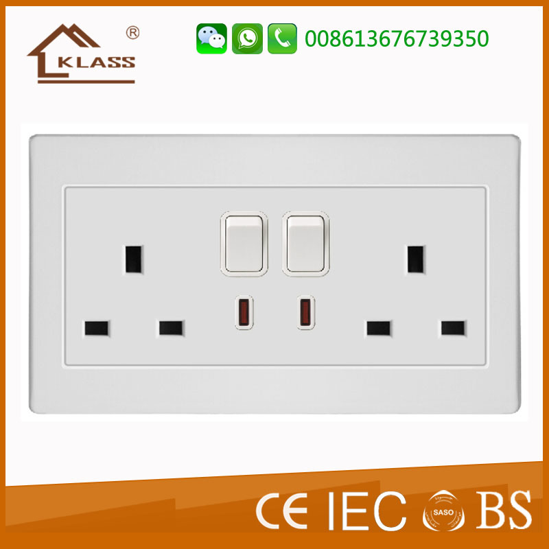 China Household Double 13A Rocker Switches Sockets - China Wall ...