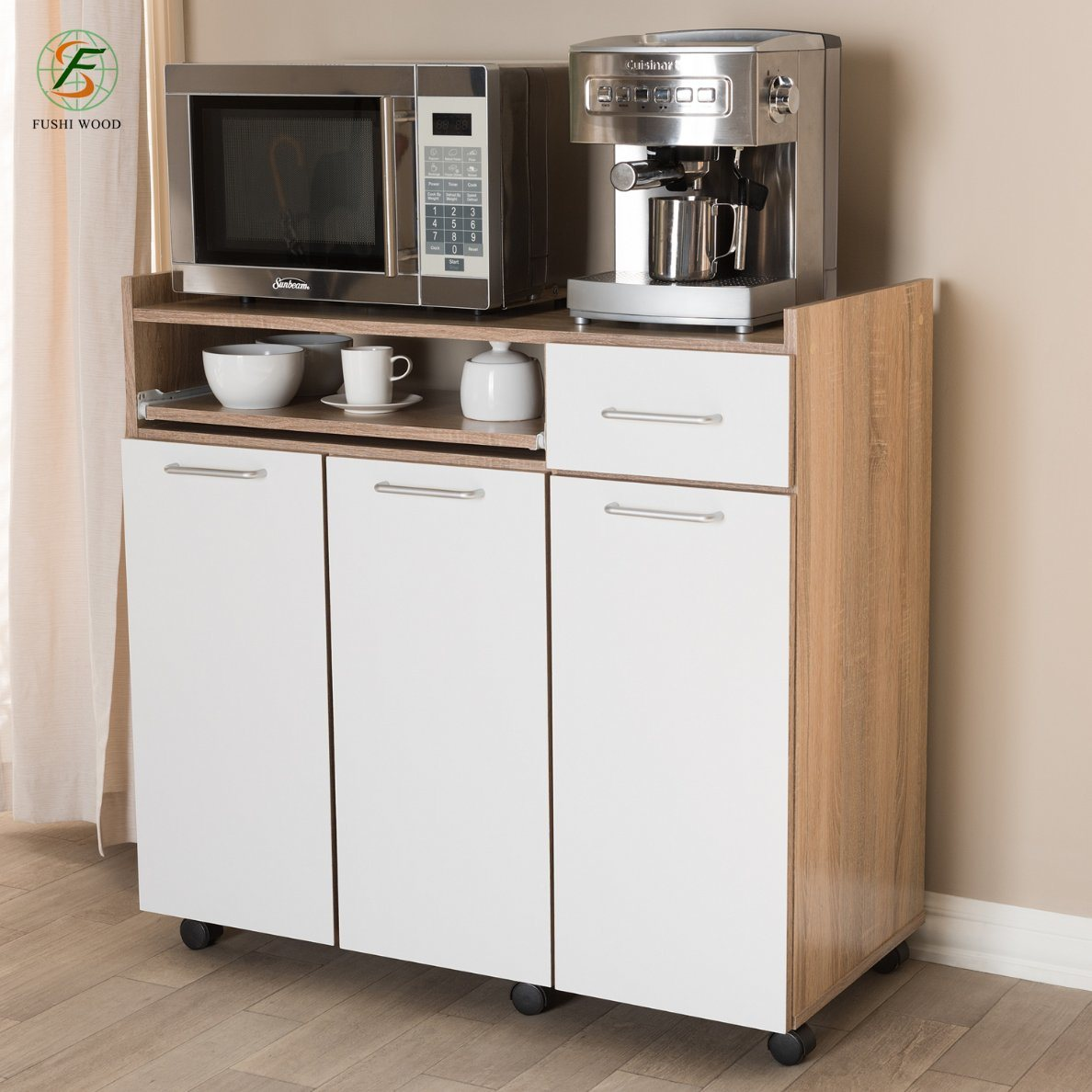[Hot Item] Oak and White Finish Kitchen Cabinet with Pulleys for Microwave  Oven