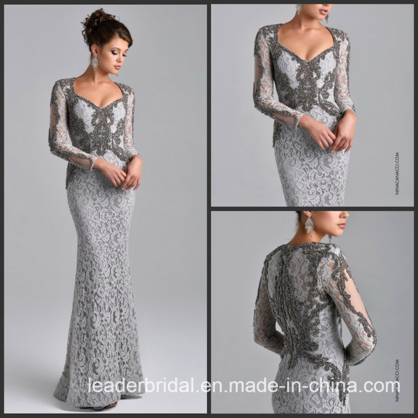 China Long Sleeves Gray Lace Mother of The Bride Dress Beads Evening ...
