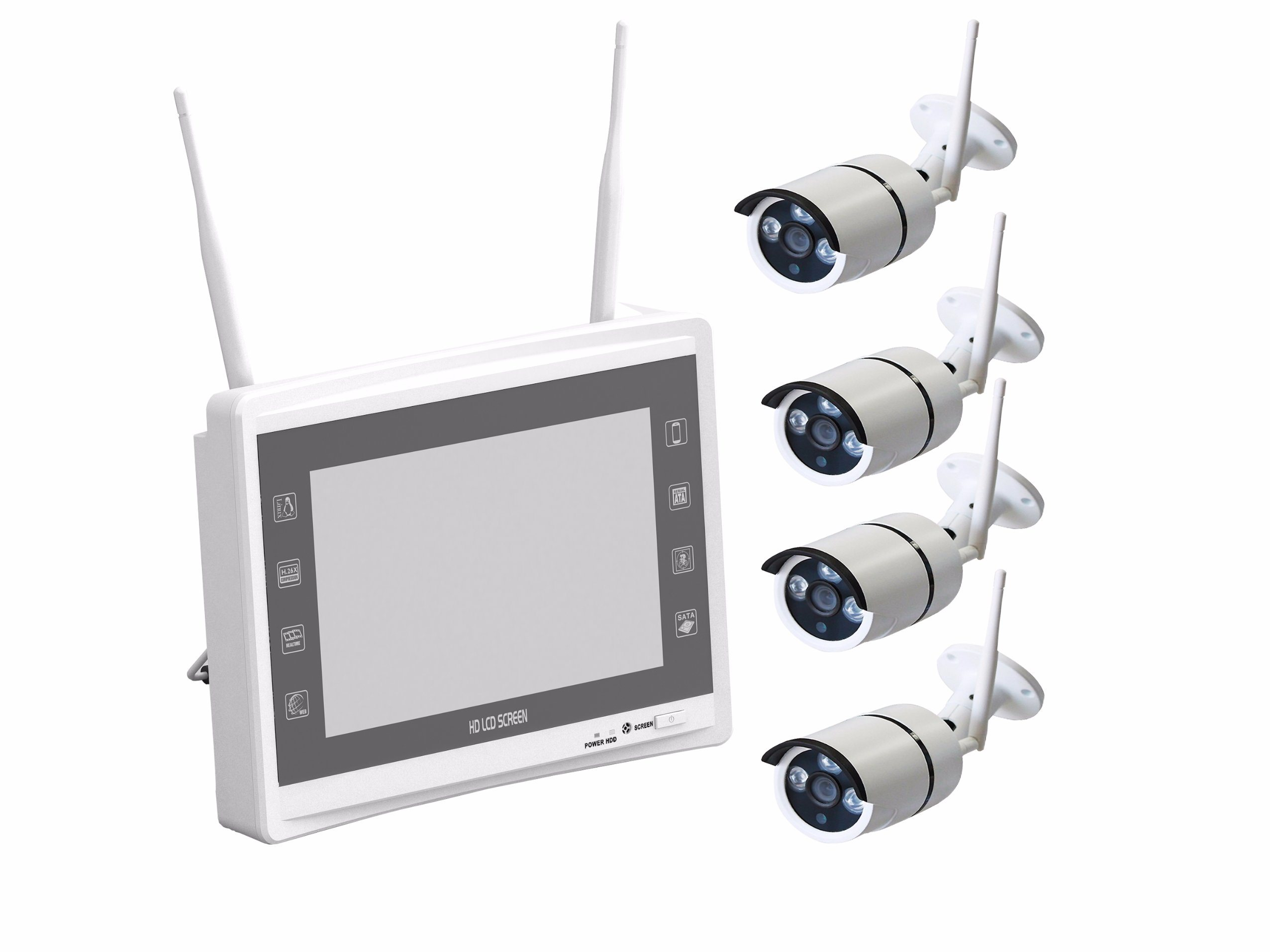 A-ZONE 4CH Wireless 1080P IP Security Camera System WiFi NVR Outdoor Kit 1TB HDD