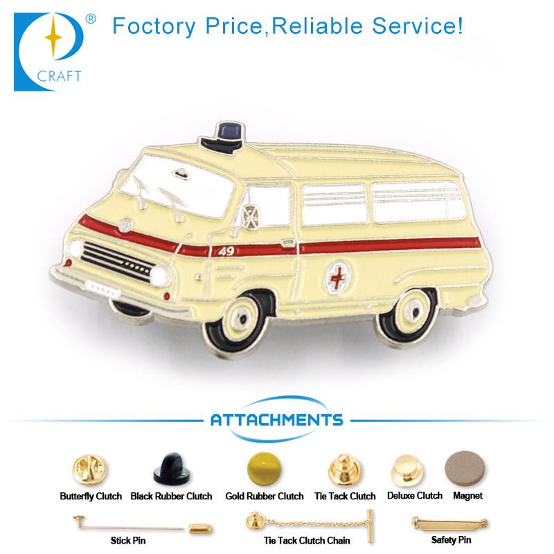 China OEM Custom Ambulance Pin Badge in Yellow for Gift