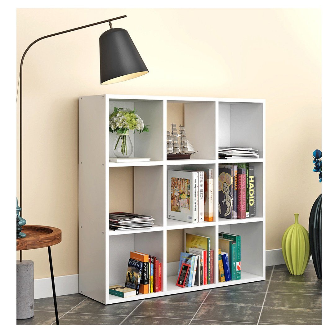 9 Cube Storage White Display Shelf Unit